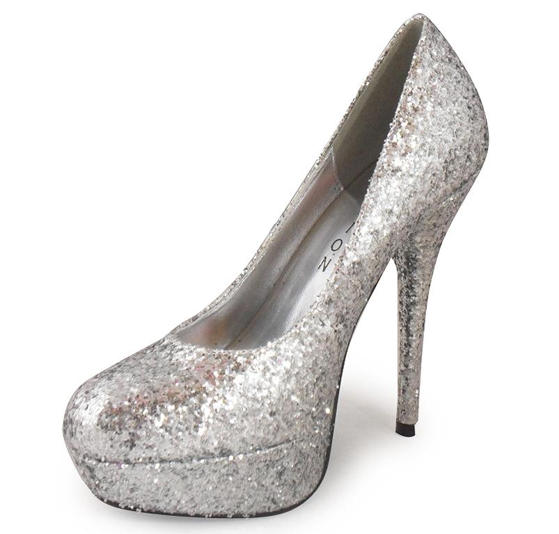 new womens silver glitter platform shoe 3 8 ebay