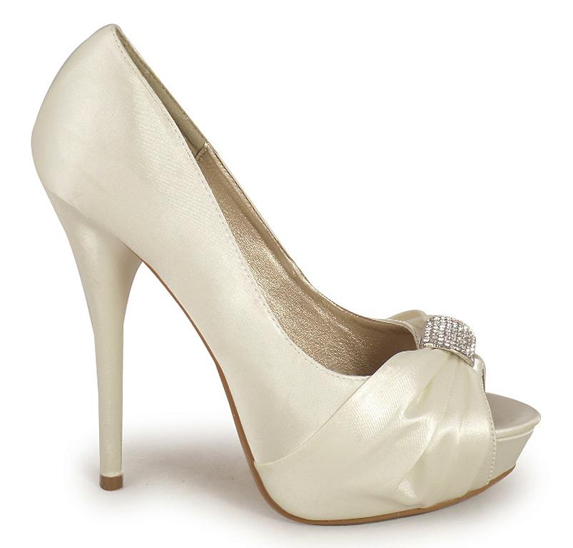 new womens ivory bridal peeptoe platform prom