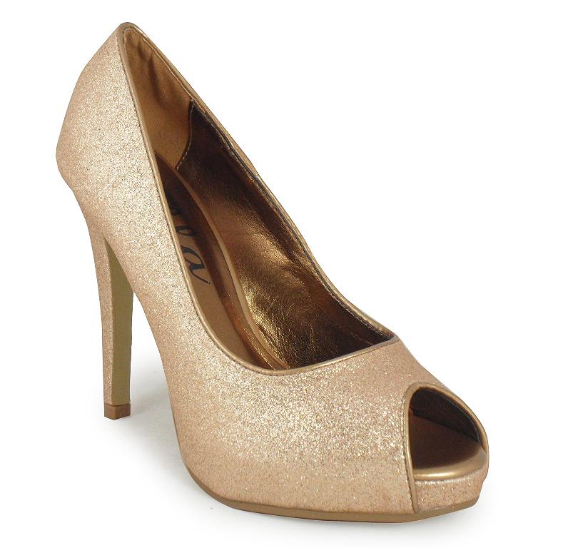 gold glitter peep toe prom shoes 3 8 ebay