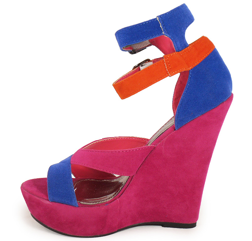 new womens orange blue pink wedge shoes size 3 8 ebay