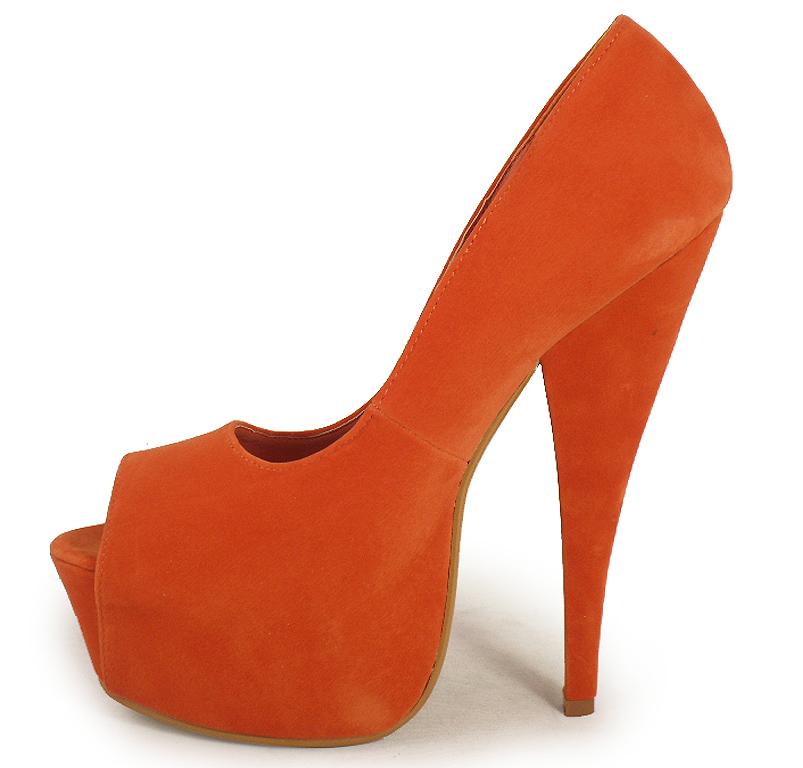 womens orange peeptoe high heel shoes sizes 3 8 ebay